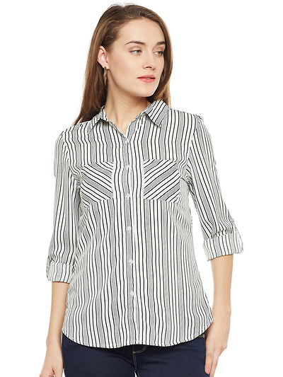 Off White and Black Color Stripe Printed Shirt