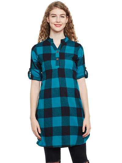 Green and Black Color Brushed Check Printed Cotton Tunic