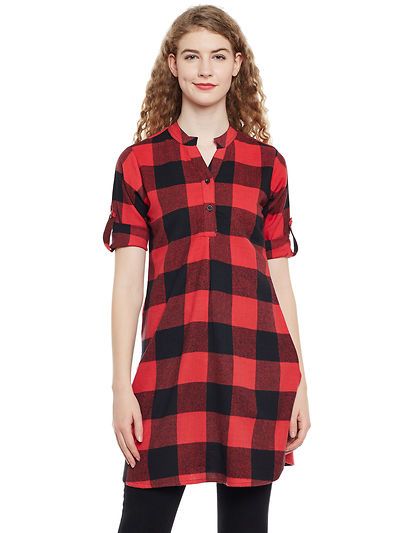 Red and Black Color Brushed Check Printed Cotton Tunic