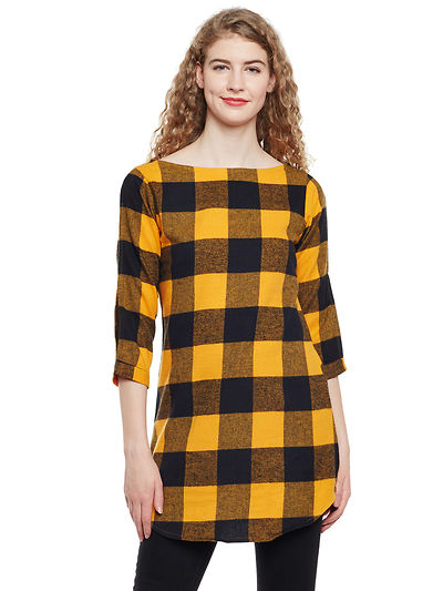 Yellow and Black Color Brushed Check Printed Cotton Tunic
