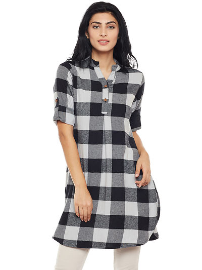 Grey and Black Color Brushed Check Printed Cotton Tunic