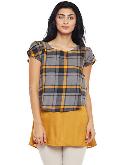 Grey and Mustard Color Brushed Check Printed Cotton Tunic