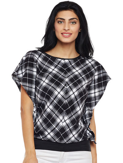Black and White Color Brushed Check Printed Cotton Top