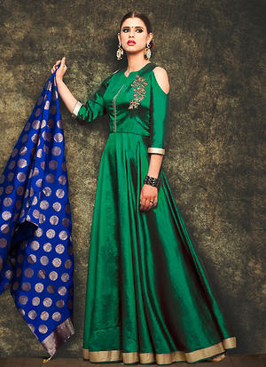 Green Color Readymade Party Wear Anarkali Suit-57878