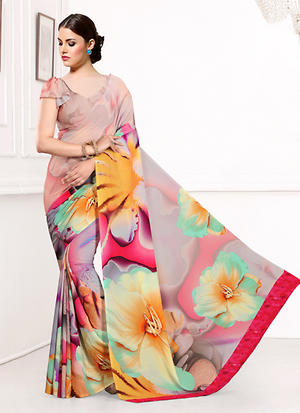 Multi Color Party Wear Printed Saree Online-KSR6232