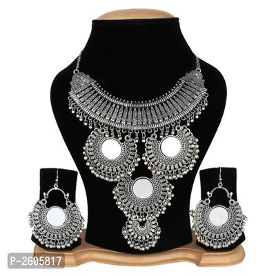 Oxidized Necklace Set With Earring