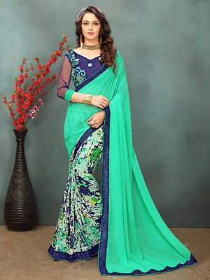 1be5632fedf649 9to9bazar Light Blue Women Georgette Saree - Buy latest collections ...