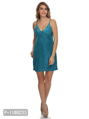 Satin Short Nighty With Lace Cups