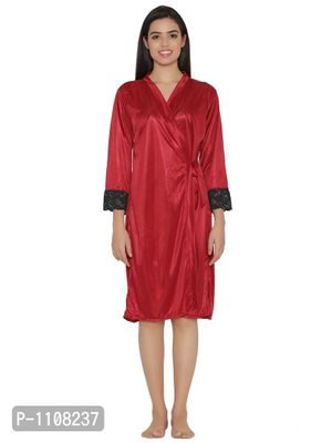 Satin Short Robe With Lace
