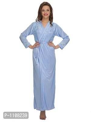 Satin Long Robe With Lace