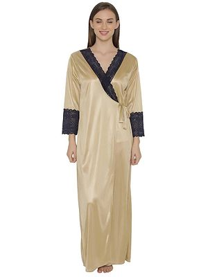 Long Satin Robe With Lace
