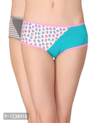 Pack of 2 Cotton Mid Waist Printed Hipster Panty