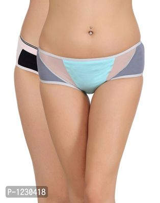 Pack of 2 Cotton Mid Waist Hipster with Powernet Panels