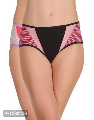 Pack of 2 Cotton Mid Waist Hipster Panty with Powernet Panels