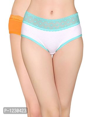 Pack of 2 Cotton Mid Waist Hipster Panty with Lace at Waist