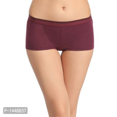 Purple Cotton Spandex Boy Shorts