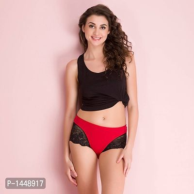 Red Cotton Spandex Boy Shorts