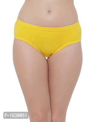 Yellow Cotton Mid Waist Hipster Panty With Inner Elastic