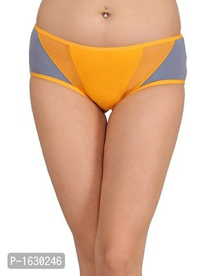Orange Cotton Mid Waist Hipster With Powernet Panels