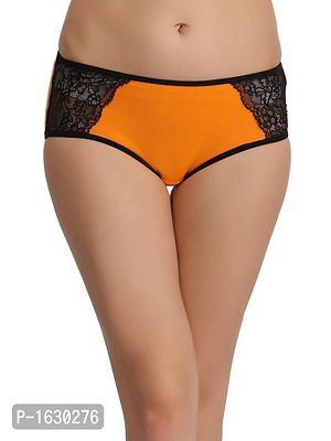 Orange Cotton Mid Waist Hipster With Lace Wings