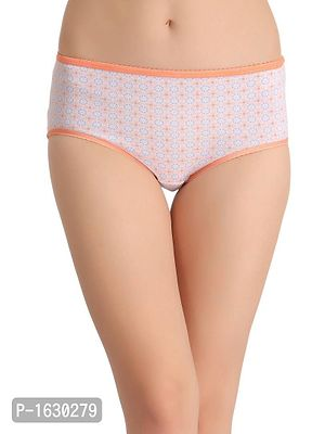 Orange Cotton Mid Waist Printed Hipster
