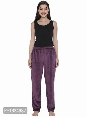 Purple Velour Pyjama with Elasticated Waistband