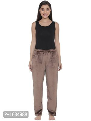 Brown Velour Pyjama with Elasticated Waistband