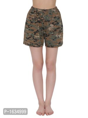 Green Cotton Rich Camouflage Print Boxer Shorts