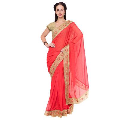 Red Embellished  Saree