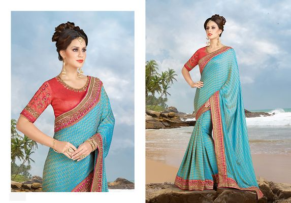 Blue Embellished  Saree