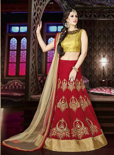 Red Embellished Lehenga
