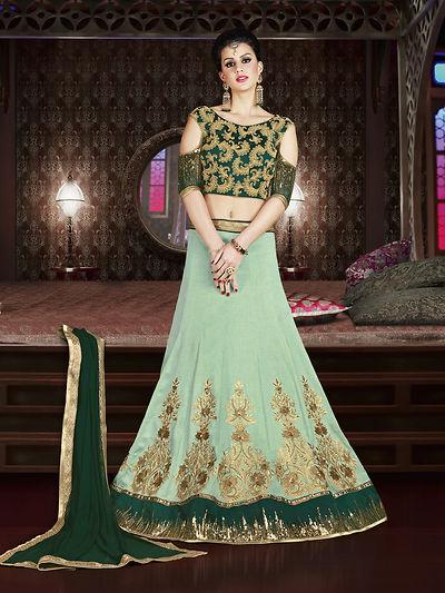 Green Embellished Lehenga