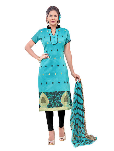 Blue Embroidered Dress Material