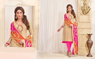 Beige Embroidered Dress Material
