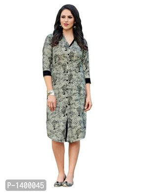 Grey & Black Color Cotton Printed Kurta