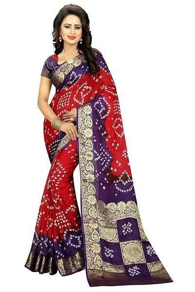box pallu bandhani saree