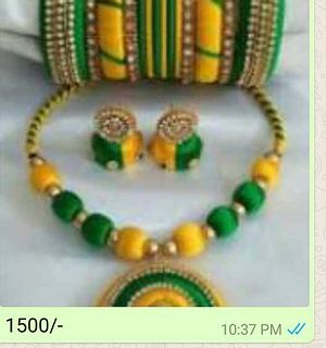 Green and Yellow Thread necklace and earrings with bangles