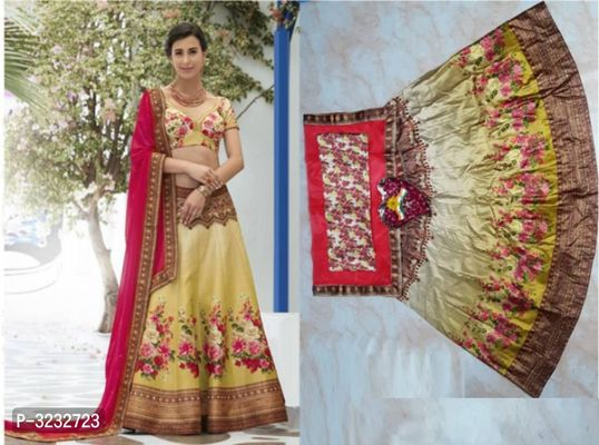 Heavy Gotta Satin Digital Printed Lehenga Choli With Net Dupatta