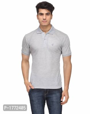 Grey Solid Polos  T-Shirt
