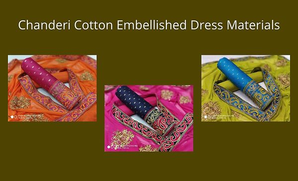 Chanderi Cotton Embellished Dress Materials