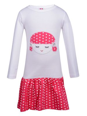 Lil Orchids Girls White Applique Dress with Polka Dots