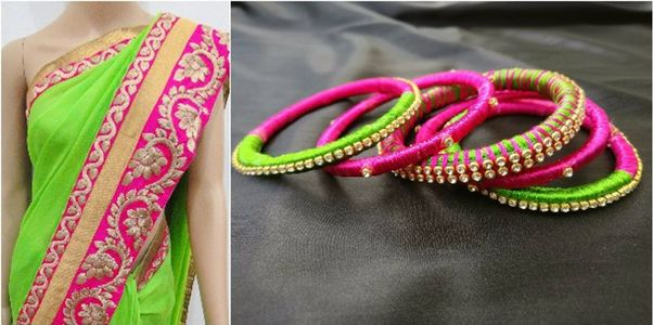 Attractive combo of Pink and Green - silk thread Bangles