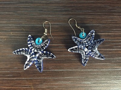 StarFish quilled earrings in blue painted white