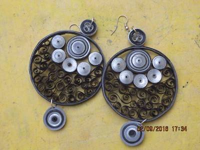 Quilled Black & Silver Earrings