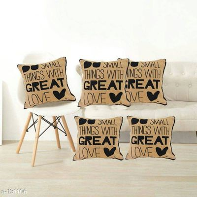 Beige Digital Printed Decorative Cushion Covers Set of 5 Pcs with hidden zip, Size 16x16 Inch