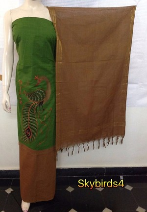 👆Code: sky birds   Handloom high quality self dobi cheese dying zero finish top customised with baby birds embroidery teamed with cotton Bottom and weaving dupatta