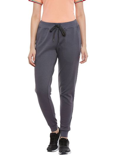Cotton Charcoal Regular Fit Track Pant for Women