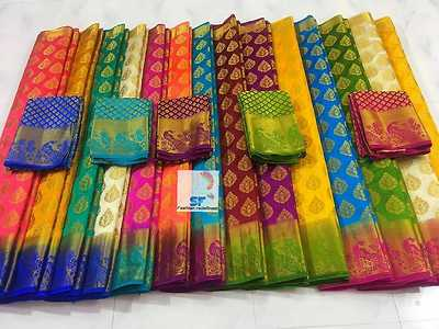 SF's *Raniz* organza silk sarees 👉contrast rich pallu with whole peacock designs 👉contrast designer blouse 👉jari butta all over body 👉😘😍 awesome colors😍😘  Huge stock ready to despatch!! Hurry!!!  contact 9111004977 for bookings!!