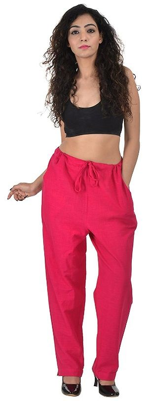 Pink Solid Ethnic Casual Pant