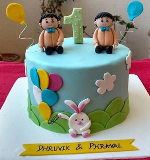 Twins birthday theme cake